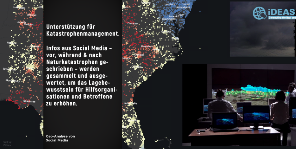 Eine Heatmap über einer Karte der USA. Menschen betrachten Monitore mit Daten.